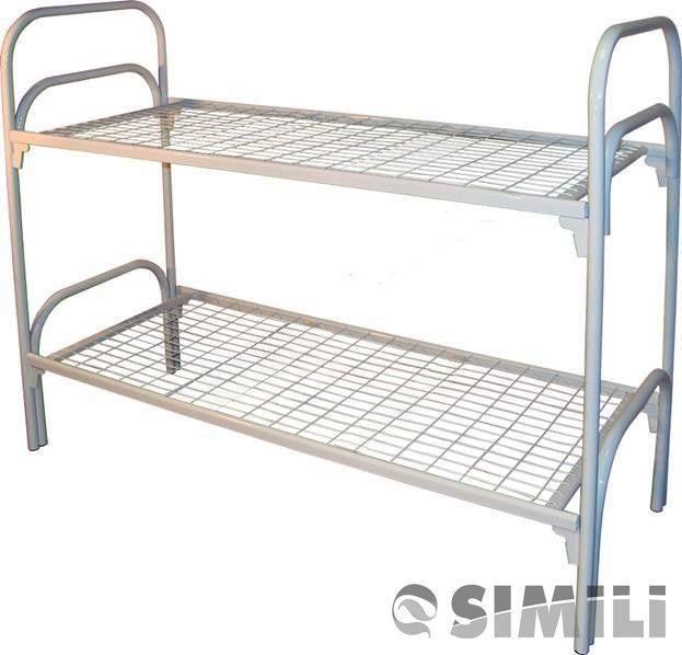 Кровати металлические двухъярусные с ДСП спинками и без них, купить оптом