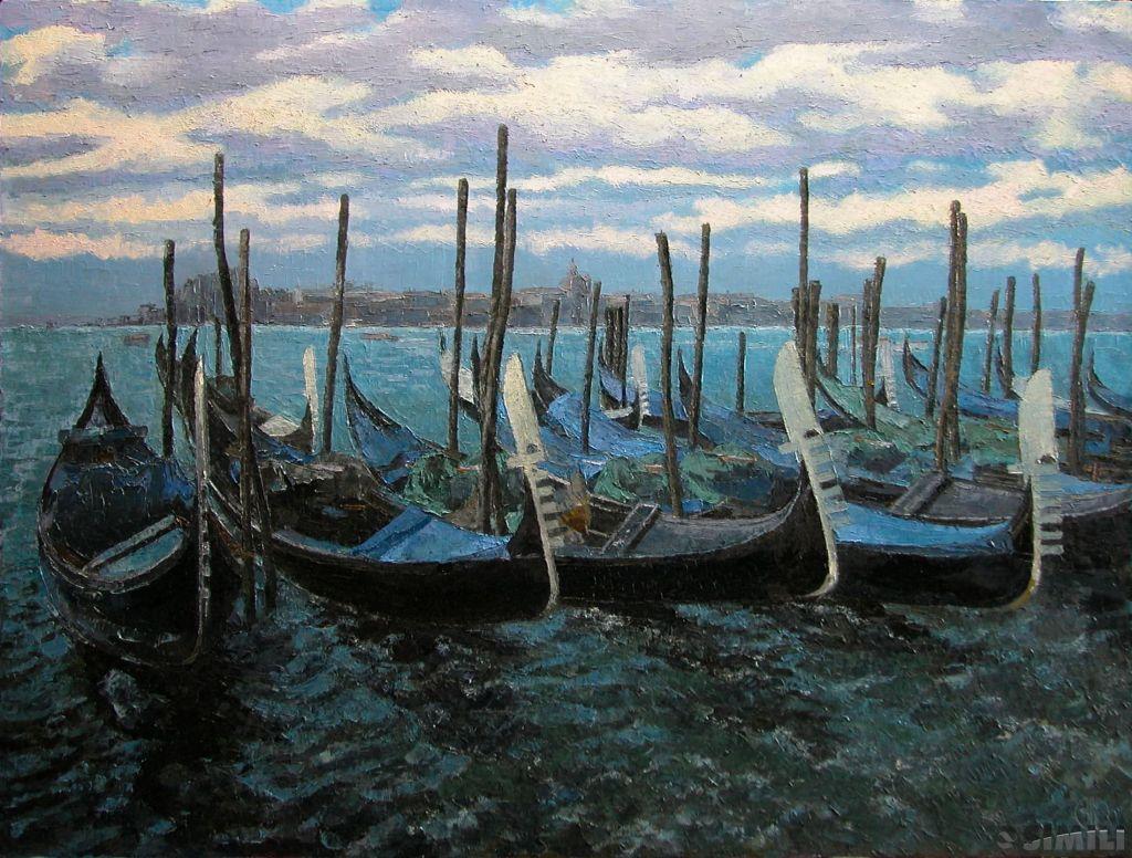 Продаю картину: автор Аксамитов Юрий, La Mia Venezia, спящие гондолы