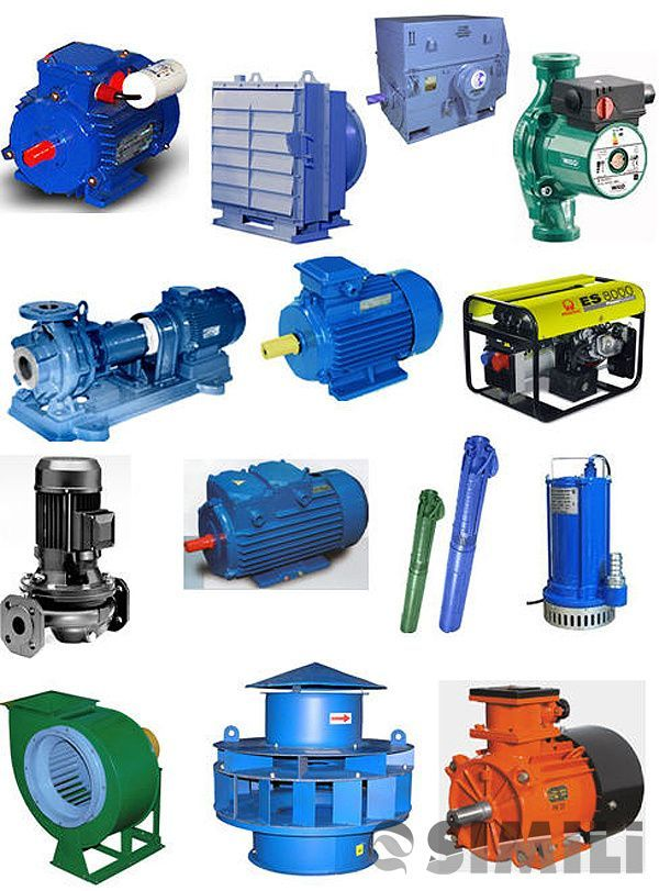 Электродвигатели, насосы, запорная арматура, редукторы, дымососы